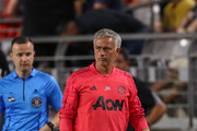 Manchester United manager Jose Mourinho looks on during International Champions Cup game against Club America at the University of Phoenix Stadium on July 19, 2018 in Glendale, Arizona.