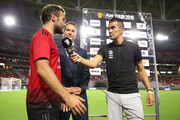 Juan Mata #8 of Manchester United is interviewed after the International Champions Cup game against the Club America at the University of Phoenix Stadium on July 19, 2018 in Glendale, Arizona.