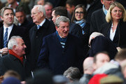 England manager Roy Hodgson looks on from the stand prior to the Barclays Premier League match between Manchester United and Manchester City at Old Trafford on April 12, 2015 in Manchester, England.