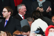 Sir Alex Ferguson gives a thumbs up prior to the Barclays Premier League match between Manchester United and Manchester City at Old Trafford on April 12, 2015 in Manchester, England.