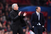 Jose Mourinho, Manager of Manchester United gives his team instructions during the Group H match of the UEFA Champions League between Manchester United and Juventus at Old Trafford on October 23, 2018 in Manchester, United Kingdom.