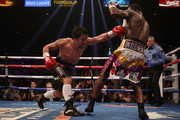 Manny Pacquiao (L) throws a left on Adrien Broner during the WBA welterweight championship at MGM Grand Garden Arena on January 19, 2019 in Las Vegas, Nevada.
