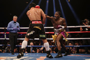 Adrien Broner (R) throws a right on Manny Pacquiao during the WBA welterweight championship at MGM Grand Garden Arena on January 19, 2019 in Las Vegas, Nevada.