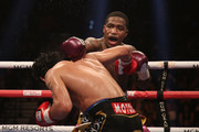 Adrien Broner (R) throws a left at Manny Pacquiao during the WBA welterweight championship at MGM Grand Garden Arena on January 19, 2019 in Las Vegas, Nevada.