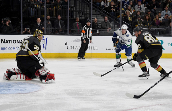 Golden Knights Vs Canucks News: Marc-Andre Fleury And Bo Horvat Photos Photos