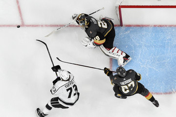 Marc-Andre Fleury Tyler Toffoli Los Angeles Kings v Vegas Golden Knights - Game One