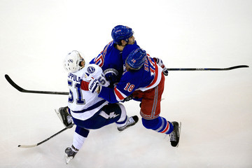 Marc Staal Chris Kreider Tampa Bay Lightning v New York Rangers - Game Two