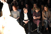 (L-R) Model and singer Karen Elson, film producer Harvey Weinstein, Editor-in-Chief at American Vogue, Anna Wintour, and  Vogue's fashion market/accessories director, Virginia Smith, attend the Marchesa Fall 2016 fashion show during New York Fashion Week: The Shows at The Dock, Skylight at Moynihan Station on February 17, 2016 in New York City.