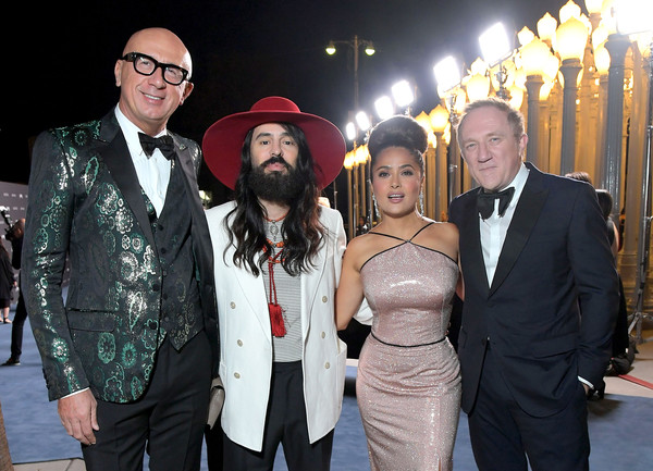 2019 LACMA Art And Film Gala Honoring Betye Saar And Alfonso Cuarón - Inside [event,fashion,fun,facial hair,suit,formal wear,ceremony,betye saar,alfonso cuar\u00f3n,salma hayek pinault,marco bizzarri,alessandro michele,l-r,fran\u00e3\u00a7,lacma,gucci,lacma art film gala]