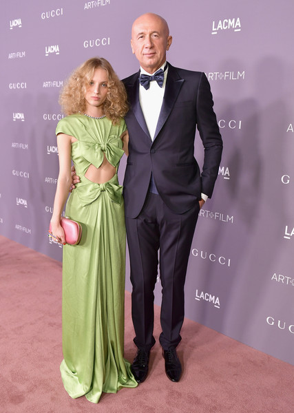 2017 LACMA Art + Film Gala Honoring Mark Bradford and George Lucas Presented by Gucci - Red Carpet [suit,clothing,formal wear,carpet,dress,fashion,tuxedo,event,premiere,shoulder,mark bradford,george lucas,marco bizzarri,petra collins,lacma,california,los angeles,gucci,red carpet,lacma art film gala]
