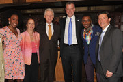 (L-R) Tren'Ness Woods-Black, Manhattan Borough President Gale Brewer, Honorary Chair President Bill Clinton, Mayor Bill de Blasio, Marcus Samuelsson and Herb Karlitz attend at Red Rooster Harlem as Marcus Samuelsson, Herb Karlitz, Honorary Chair President Bill Clinton, and special guest Mayor Bill de Blasio announce Harlem EatUp!, a new three-day food, music and arts festival that will celebrate the Harlem community and culture which will debut in May 2015.