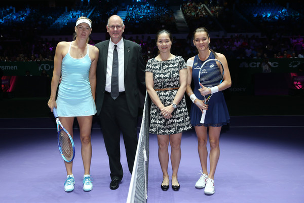 BNP Paribas WTA Finals: Singapore 2015 - Day One [day one,photo,fashion,event,performance,dress,fashion design,footwear,competition,recreation,electric blue,model,li na,ceo,maria sharapova,singapore 2015,l-r,wta,bnp paribas,finals]