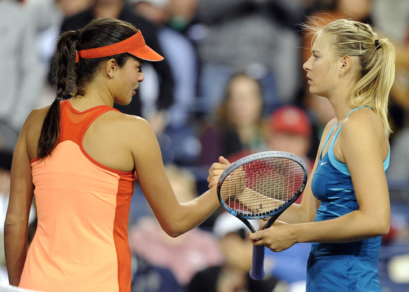 Maria Sharapova Maria Sharapova of Russia receives a handshake from Ana Ivanovic of Serbia who retired with a left hip injury at the Indian Wells Tennis Garden on March 16, 2012 in Indian Wells, California.