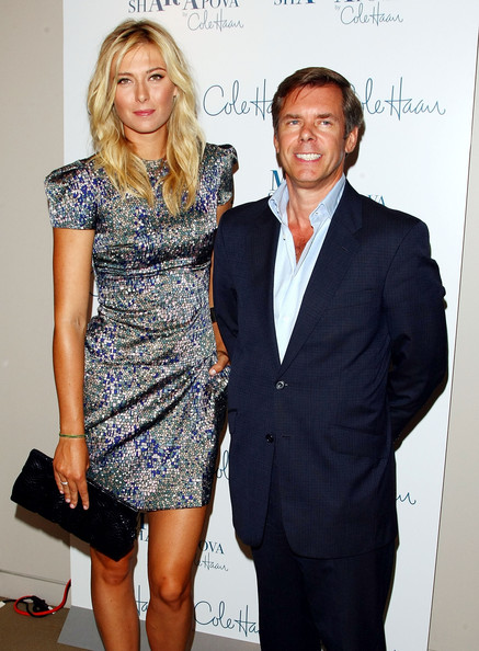 (L-R) Tennis star Maria Sharapova and Cole Haan CEO Jim Seuss attend the unveiling of her collection at Cole Haan Rockefeller Center Store on August 27, 2009 in New York, New York.