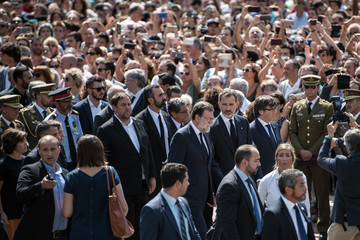 Mariano Rajoy A Minute's Silence Is Held In Barcelona To Pay Tribute To The Terror Attack Victims