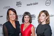 (L-R) Editor-in-Chief, Marie Claire, Anne Fulenwider, makeup artist Jenn Streicher and actress Carrie Brownstein attend the inaugural Image Maker Awards hosted by Marie Claire at Chateau Marmont on January 12, 2016 in Los Angeles, California.