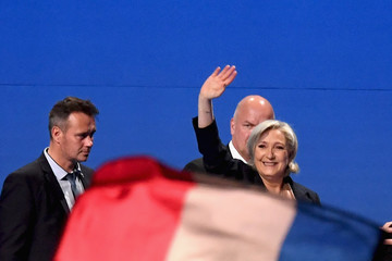 Marine Le Pen Presidential Candidate Marine Le Pen Holds a Rally Meeting in  Villepinte