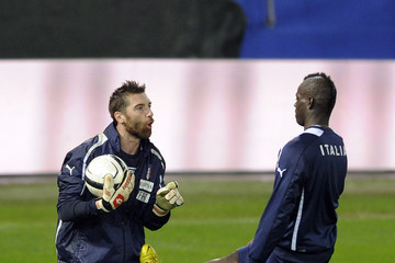 Mario Balotelli Morgan De Sanctis Italy Training Session And Press Conference