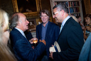 """(L-R) David Campbell, Mark Getty and Lee Martin attend the launch of Mark Getty's book """"Like Wildfire Blazing"""" published by Adelphi Publishers on June 19, 2018 in London, England."""