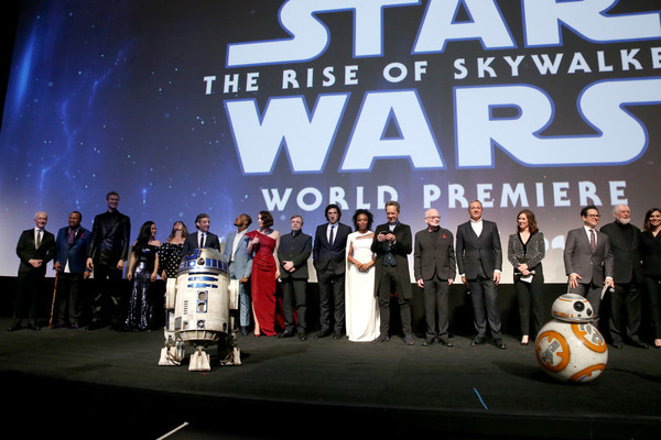"""World Premiere Of """"Star Wars: The Rise of Skywalker"""" [event,performance,team,stage,competition,convention,l-r,star wars: the rise of skywalker,world premiere of ``star wars: the rise of skywalker,john williams,j.j.,michelle rejwan,producer,chairman,billy dee williams,writer]"""
