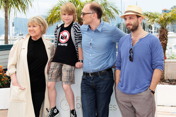 """Michael"" Photocall - 64th Annual Cannes Film Festival [markus schleinzer,michael photocall - 64th,michael fuith,actors,christine kain,david rauchenberger,photocall,l-r,people,event,tourism,recreation,t-shirt,vacation,cannes film festival,64th cannes film festival]"
