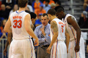 Coach Billy Donovan of the Florida Gators directs play against the Marquette Golden Eagles  November 29, 2012 at Stephen C. O'Connell Center in Gainesville, Florida. The Gators won 82 - 49.