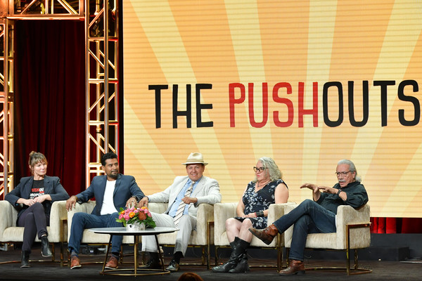 2019 Summer Television Critics Association Press Tour - Day 8 [event,performance,talent show,stage,victor rios,katie galloway,edward james olmos,dawn valadez,martin flores,the pushouts,the beverly hilton hotel,beverly hills,summer tca press,press tour]