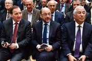 """(From L) Sweden's Prime minister Stefan Loefven, Martin Schulz, the German Social Democratic Party's (SPD) main candidate in upcoming parliamentary elections, and Portugal's Prime Minister Antonio Costa attend a convention of the """"Progressive Alliance"""" which brings together European social democratic party leaders at the SPD party headquarters in Berlin on March 13, 2017. / AFP PHOTO / John MACDOUGALL"""