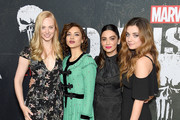 "Deborah Ann Woll, Amber Rose Revah, Floriana Lima, and Giorgia Whigham arrive at Marvel's ""The Punisher"" Los Angeles Premiere at ArcLight Hollywood on January 14, 2019 in Hollywood, California."