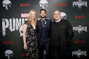 "Deborah Ann Woll, Ben Barnes and Jeph Loeb attend ""Marvel's The Punisher"" Seasons 2 Premiere at ArcLight Hollywood on January 14, 2019 in Hollywood, California."