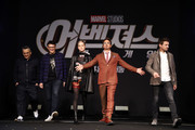 Joe Russo, Anthony Russo, Brie Larson, Robert Downey Jr. and Jeremy Renner attend the press conference for Marvel Studios' 'Avengers: Endgame' South Korea premiere on April 15, 2019 in Seoul, South Korea.