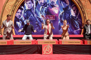 """Marvel Studios' """"Avengers: Endgame"""" stars Chris Hemsworth, Chris Evans, Robert Downey Jr., Scarlett Johansson and Mark Ruffalo at the Hand And Footprint Ceremony at the TCL Chinese Theatre on April 23, 2019 in Hollywood, California."""