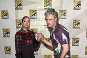 Tessa Thompson and director Taika Waititi of Marvel Studios' 'Thor: Love and Thunder' at the San Diego Comic-Con International 2019 Marvel Studios Panel in Hall H on July 20, 2019 in San Diego, California.