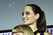 Angelina Jolie and Lia McHugh of Marvel Studios' 'The Eternals' at the San Diego Comic-Con International 2019 Marvel Studios Panel in Hall H on July 20, 2019 in San Diego, California.