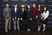 "A(L-R) Actor Tony Shalhoub, executive producer Daniel Palladino, writer Amy Sherman Palladino and actors Rachel Brosnahan, Michael Zegen, Marin Hinkle and Alex Borstein attend ""The Marvelous Mrs. Maisel"" Emmy FYC Press Night at the Hollywood Athletic Club on April 14, 2018 in Hollywood, California."