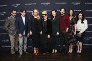 "(L-R) Actor Tony Shalhoub, executive producer Daniel Palladino, Head of Amazon Studios Jennifer Salke, writer Amy Sherman-Palladino and actors Rachel Brosnahan, Michael Zegen, Marin Hinkle and Alex Borstein attend ""The Marvelous Mrs. Maisel"" Emmy FYC Press Night at the Hollywood Athletic Club on April 14, 2018 in Hollywood, California."