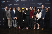 "(L-R) Actor Paul Feig, actor Tony Shalhoub, executive producer Daniel Palladino, Head of Amazon Studios Jennifer Salke, writer Amy Sherman-Palladino, actors Rachel Brosnahan, Michael Zegen, Marin Hinkle and Alex Borstein, Head of Drama Development Marc Resteghini and Head of Casting Donna Rosenstein attend ""The Marvelous Mrs. Maisel"" Emmy FYC Press Night at the Hollywood Athletic Club on April 14, 2018 in Hollywood, California."