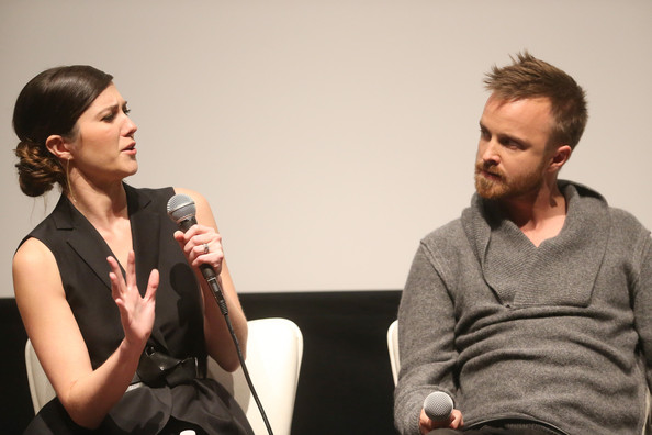 Deadline Hollywood's The Contenders [conversation,interaction,fashion,event,human,performance,sitting,gesture,mary elizabeth winstead,aaron paul,deadline hollywood,california,los angeles,landmark theater,contenders,l]