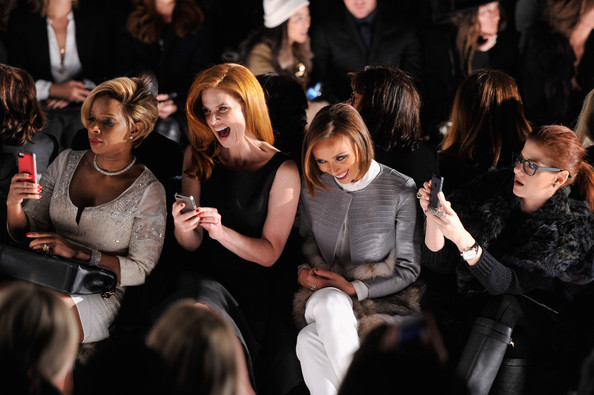 Dennis Basso - Front Row - Mercedes-Benz Fashion Week Fall 2014 [people,audience,event,fashion,crowd,performance,photography,fashion design,dennis basso,debra messing,giuliana rancic,sarah rafferty,mary j. blige,front row,l-r,lincoln center,mercedes-benz fashion week,fashion show]