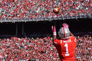 Braxton Miller #1 of the Ohio State Buckeyes catches a 19-yard touchdown pass in the second quarter as Jalen Brooks #43 of the Maryland Terrapins closes in to defend at Ohio Stadium on October 10, 2015 in Columbus, Ohio.