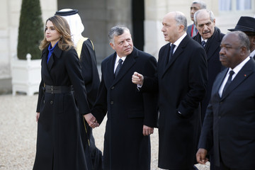 Queen Rania Mass Unity Rally Held In Paris Following Recent Terrorist Attacks