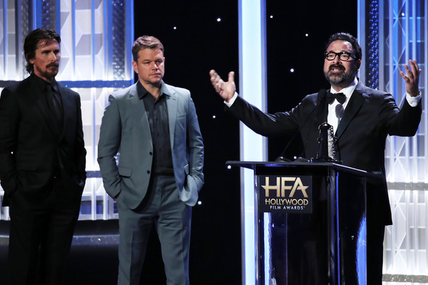 23rd Annual Hollywood Film Awards - Show [event,white-collar worker,suit,businessperson,speech,formal wear,business,christian bale,james mangold,matt damon,stage,l-r,beverly hills,california,the beverly hilton hotel,annual hollywood film awards - show,annual hollywood film awards]