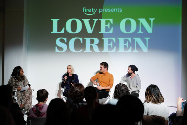 Fire TV Presents: Love on Screen Panel And Screening Event At 'The Museum of Modern Love' [fire tv presents: love on screen panel screening event,the museum of modern love,text,event,youth,fashion,font,adaptation,design,public speaking,crowd,presentation,matt rogers,candace bushnell,sade strehlke,justin mcleod,l-r,museum of modern love,new york city]