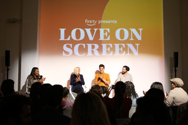 Fire TV Presents: Love on Screen Panel And Screening Event At 'The Museum of Modern Love' [fire tv presents: love on screen panel screening event,the museum of modern love,text,event,convention,design,font,adaptation,public speaking,academic conference,performance,conversation,matt rogers,candace bushnell,sade strehlke,justin mcleod,l-r,museum of modern love,new york city]