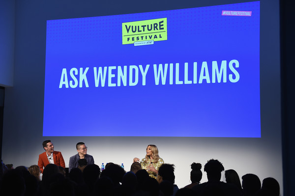 Vulture Festival Presented By AT&T - Milk Studios, Day 1 [projection screen,display device,event,presentation,technology,academic conference,projector accessory,public speaking,convention,company,wendy williams,bowen yang,matt rogers,l-r,new york city,milk studios,at t,vulture festival]
