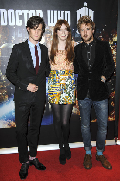 Doctor Who: Asylum Of The Daleks - Screening [doctor who: asylum of the daleks - screening,episode,series,red carpet,carpet,suit,event,premiere,flooring,outerwear,formal wear,tuxedo,arthur darvill,matt smith,karen gillan,l-r,bfi southbank,england,preview screening]