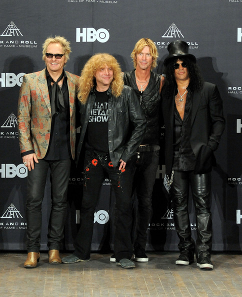 27th Annual Rock And Roll Hall Of Fame Induction Ceremony - Press Room [rock and roll hall of fame induction ceremony - press room,fashion,event,performance,fashion design,inductees,duff mckagan,steven adler,matt sorum,roses,l-r,slash of guns n,press room,public hall]