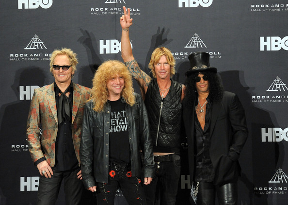 27th Annual Rock And Roll Hall Of Fame Induction Ceremony - Press Room [rock and roll hall of fame induction ceremony - press room,event,fashion,premiere,musician,fashion design,performance,inductees,duff mckagan,steven adler,matt sorum,roses,l-r,slash of guns n,press room,public hall]