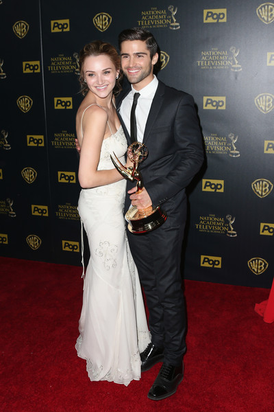 The 42nd Annual Daytime Emmy Awards - Press Room [the young and the restless,carpet,red carpet,formal wear,suit,flooring,event,dress,tuxedo,gown,premiere,hunter king,max ehrich,actress,award,room,l,warner bros. studios,daytime emmy awards,outstanding younger actress in a drama series]