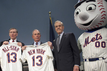 Allan 'Bud' Selig Mayor Bloomberg Makes Announcement With MLB Commissioner Bud Selig And Mets Owner CEO Fred Wilpon